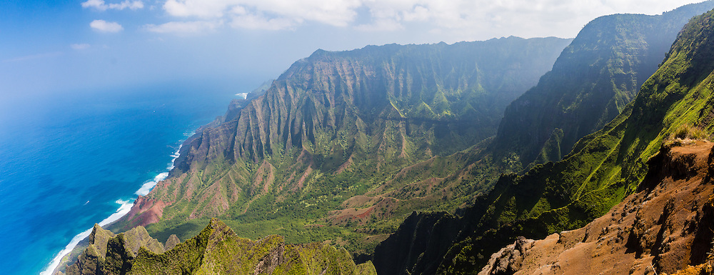 Panorama of Kalalau Valley on the Na Pali Coast, Kokee, Kauai, Hawaii