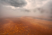 Foggy Orange fringe of the Grand Prismatic Spring in Yellowstone National Park