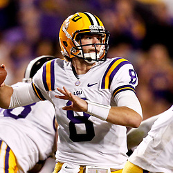 November 10, 2012; Baton Rouge, LA, USA; LSU Tigers quarterback Zach Mettenberger (8) against the Mississippi State Bulldogs during the second half of a game at Tiger Stadium.  LSU defeated Mississippi State 37-17. Mandatory Credit: Derick E. Hingle-US PRESSWIRE