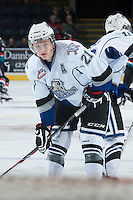 KELOWNA, CANADA - NOVEMBER 20: Austin Carroll #21 of the Victoria Royals stands on the ice during warm up at the Kelowna Rockets on November 20, 2013 at Prospera Place in Kelowna, British Columbia, Canada.   (Photo by Marissa Baecker/Shoot the Breeze)  ***  Local Caption  ***