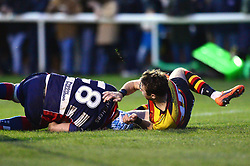 Jordan Crane of Bristol Rugby scores a try - Mandatory by-line: Dougie Allward/JMP - 30/12/2017 - RUGBY - The Athletic Ground - Richmond, England - Richmond v Bristol Rugby - Greene King IPA Championship