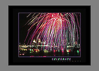 Signed 24x30 poster of fireworks over the Cincinnati Skyline at night
