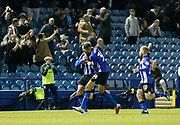 Goal celebration by Sheffield Wednesday midfielder Adam Reach (20) during the EFL Sky Bet Championship match between Sheffield Wednesday and Leeds United at Hillsborough, Sheffield, England on 28 September 2018.