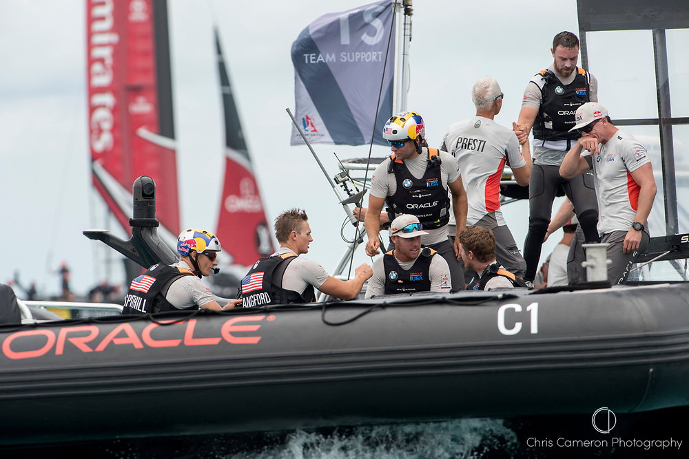 The Great Sound, Bermuda, 24th June 2017. Jimmy Spithill and crew after Oracle Team USA beats Emirates Team New Zealand  in race six. Their first win of the regatta. Day three of racing in the America's Cup presented by louis Vuitton.