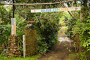 Entrance to Bulou's Eco Lodge, Navala Village, Viti Levu Island, Fiji.