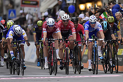 March 18, 2017 - San Remo, Italie - SANREMO, ITALY - MARCH 18 : GAVIRIA RENDON Fernando (COL) Rider of Quick-Step Floors Cycling team, KRISTOFF Alexander (NOR) Rider of Team Katusha - Alpecin, DEGENKOLB John (GER) Rider of Trek - Segafredo, BOUHANNI Nacer (FRA) Rider of Cofidis, Solutions Credits, DEMARE Arnaud (FRA) Rider of FDJ and VIVIANI Elia (ITA) Rider of Team SKY sprinting for the 4th place during the UCI WorldTour 108th Milan - Sanremo cycling race with start in Milan and finish at the Via Roma in Sanremo on March 18, 2017 in Sanremo, Italy, 18/03/2017 (Credit Image: © Panoramic via ZUMA Press)