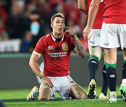 Liam Williams of the Lions pleads for against  penalty against New Zealand in the third International rugby test match between the the New Zealand All Blacks and British and Irish Lions at Eden Park, Auckland, New Zealand, Saturday, July 08, 2017. Credit:SNPA / Ross Setford  **NO ARCHIVING""