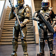 Benoit Décarie and Simon Ruel both disguised as stunning Halo's Master Chief.