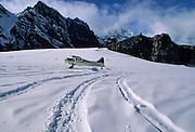 Ski plane, Glacier, Ruth glacier, glacier landing, K2, K2 Aviation, Bush Plane, Denali, Denali National Park, Alaska