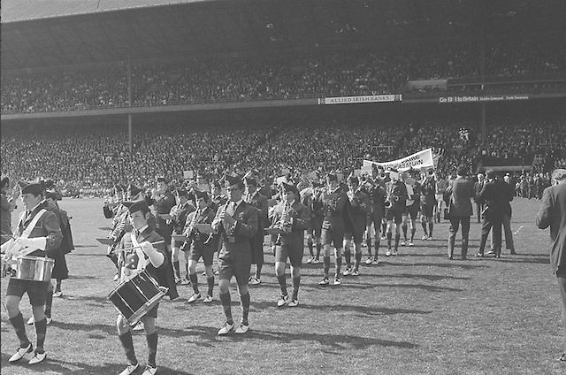 Brass band playing before the All Ireland Senior Hurling Final, Cork v Kilkenny in Croke Park on the 3rd September 1972. Kilkenny 3-24, Cork 5-11.