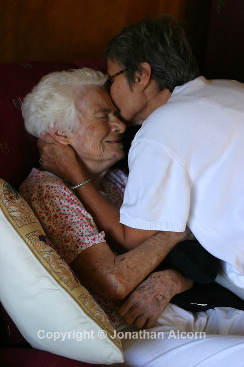 Comforting an Alzheimer's patient at a live-in residence for Alzheimer's and dementia related  patients.