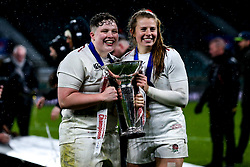 Hannah Botterman and Zoe Harrison of England Women celebrate winning the Women's Six Nations and Grand Slam - Mandatory by-line: Robbie Stephenson/JMP - 16/03/2019 - RUGBY - Twickenham Stadium - London, England - England Women v Scotland Women - Women's Six Nations