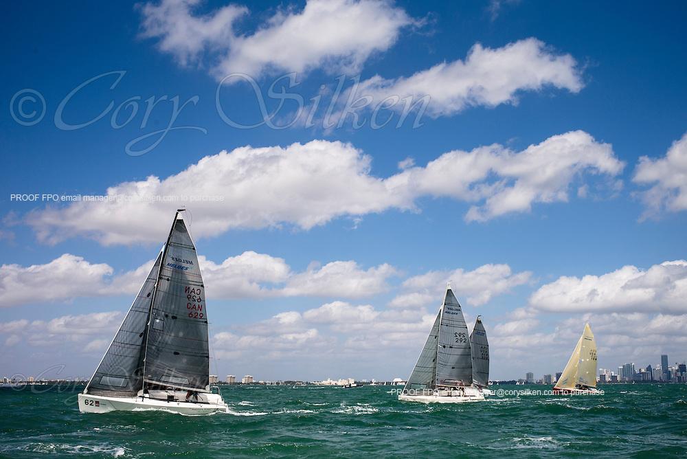 Melges 24 Class start at Bacardi Miami Sailing Week, day five.