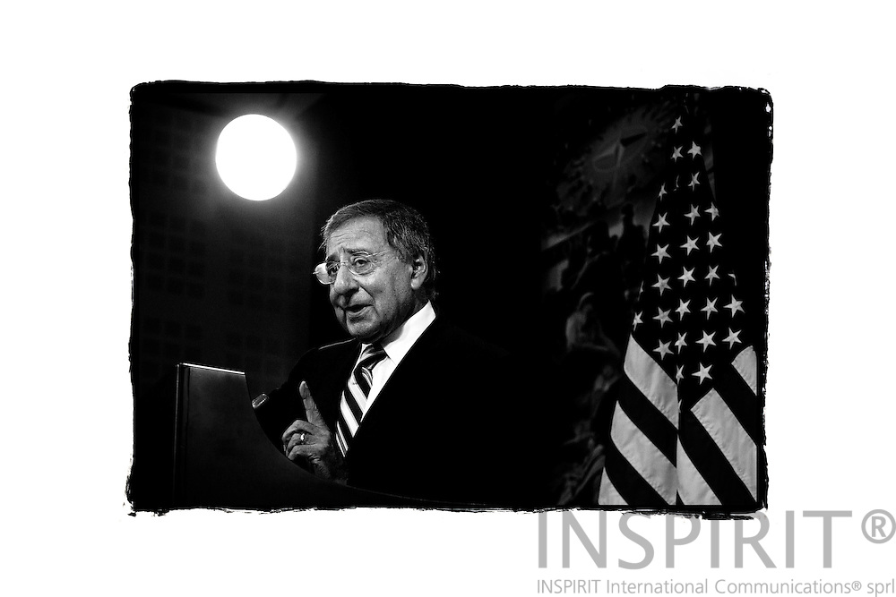 US Secretary of Defense Leon E. Panetta briefs the press after the NATO defence ministers meeting ended at the alliance headquarters in Brussels October 6, 2011. PHOTO: ERIK LUNTANG / INSPIRIT Photo.