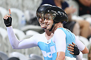 Campbell Stewart and Jordan Kerby celebrate after finishing first in the ME Madison during the 2019 Vantage Elite and U19 Track Cycling National Championships at the Avantidrome in Cambridge, New Zealand on Sunday, 10 February 2019. ( Mandatory Photo Credit: Dianne Manson )