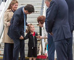 Prime Minister Justin Trudeau and his wife, Sophie Gregoire Trudeau, and his son Hadrien are greeted by officials as they arrive in Dublin, Ireland, Monday, July 3, 2017. Photo by Ryan Remiorz/CP/ABACAPRESS.COM