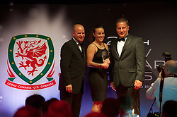 CARDIFF, WALES - Monday, October 5, 2015: Wales' Natasha Harding receives the Fan's Favourite 2015 Award from Chief-Executive Jonathan Ford and Vauxhall's Richard Nix during the FAW Awards Dinner at Cardiff City Hall. . (Pic by Ian Cook/Propaganda)