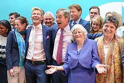 © Licensed to London News Pictures. 27/05/2019. London, UK. Nigel Farage, leader of the Brexit Party and Brexit Party MEP's at the EU election results press conference in Westminster. The newly formed Brexit Party wants the UK to leave the EU without an agreement won 10 of the UK's 11 regions, gaining 28 seats, more than 32% of the vote across the country and are largest party in nine regions. Photo credit: Dinendra Haria/LNP