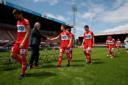 July 3, 2017 - Kortrijk, BELGIUM - Illustration picture shows players shaking hands with Kortrijk's Chairman Joseph Allijns as they arrive for the 2017-2018 season photo shoot of Belgian first league soccer team KV Kortrijk, Monday 03 July 2017 in Kortrijk. BELGA PHOTO KURT DESPLENTER (Credit Image: © Kurt Desplenter/Belga via ZUMA Press)