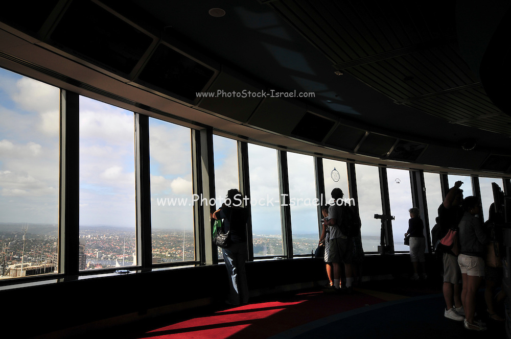 Australia, New South Wales, Sydney. Interior of the observation deck of Sydney Tower, AKA Centrepoint Tower and AMP Tower.