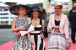 © Licensed to London News Pictures. 08/04/2016. Liverpool, UK. Ladies wearing smart dresses and hats at the Grand National 2016 for Ladies Day at Aintree Racecourse near Liverpool. The race, which was first run in 1839, is the most valuable jump race in Europe. Photo credit : Ian Hinchliffe/LNP