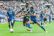 Darius Charles of AFC Wimbledon and Jamille Matt of Plymouth Argyle battle for possession during the Sky Bet League 2 Play-off Final at Wembley Stadium, London<br /> Picture by Matt Wilkinson/Focus Images Ltd 07814 960751<br /> 30/05/2016