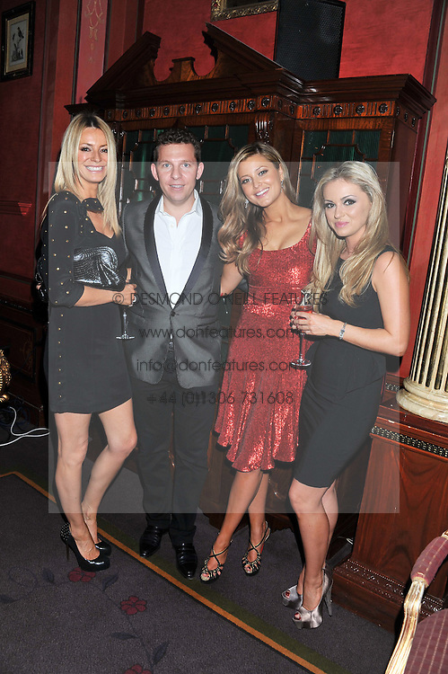 Left to right, TESS DALY, NICK CANDY, HOLLY VALANCE and OLA JORDAN at the 39th birthday party for Nick Candy in association with Ciroc Vodka held at 5 Cavindish Square, London on 21st Januatu 2012.
