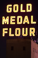 Minneapolis' famous Gold Medal Flour signage along the Mississippi riverfront.