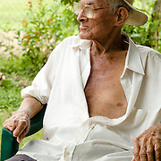 Old farmer man in the town of Rincon Santo in the region of Ocu, Province of Herrera, Republic of Panama.  Ocu is an area of the country well known for the fabrication of typical Panamanian dress.