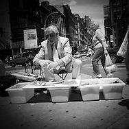 New York street seller in Union square street life  New York - United States   /  vendeur de rue, Union square, scene de rue  New York - Etats unis