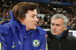 "25.11.2014, Veltins Arena, Gelsenkirchen, GER, UEFA CL, Schalke 04 vs FC Chelsea, Gruppe G, im Bild Trainer Jose ""the special one"" Mourinho (FC Chelsea) im Gespraech mit seinem Co-Trainer Rui Faria // during the UEFA Champions League group G match between Schalke 04 and Chelsea FC at the Veltins Arena in Gelsenkirchen, Germany on 2014/11/25. EXPA Pictures © 2014, PhotoCredit: EXPA/ Eibner-Pressefoto/ Schüler<br /> <br /> *****ATTENTION - OUT of GER*****"