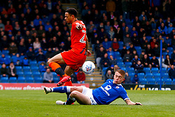 Louis Reed of Chesterfield slide tackles Nathan Tyson of Wycombe Wanderers - Mandatory by-line: Ryan Crockett/JMP - 28/04/2018 - FOOTBALL - Proact Stadium - Chesterfield, England - Chesterfield v Wycombe Wanderers - Sky Bet League Two