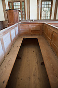 Inside of St. James Santee Episcopal Church showing box pews in 1768 McClellanville, SC.