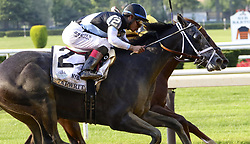 June 10, 2017 - Elmont, New York, U.S - TAPWRIT (JOSE L. ORTIZ up), foreground, begins to surge past IRISH WAR CRY (ridden by RAJIV MARAGH) in the stretch of the 149th running of the Belmont Stakes at Belmont Park. Tapwrit and Ortiz would win, and Irish War Cry placed. (Credit Image: © Staton Rabin via ZUMA Wire)