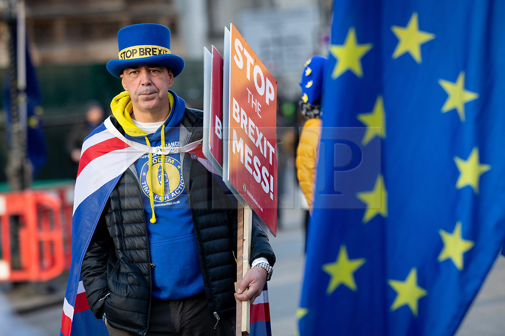 © Licensed to London News Pictures. 11/01/2019. London, UK. Anti-Brexit campaigner Steve Bray joins pro-EU demonstrations in Westminster. MPs are currently debating British Prime Minister Theresa May's EU withdrawal deal, with a vote on the deal due to take place on 15th January. Photo credit : Tom Nicholson/LNP