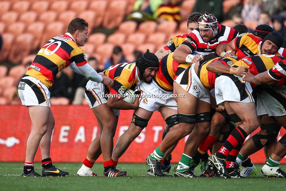 Waikato's Hame Faiva on the back of a rolling maul during the ITM Cup rugby match - Waikato v Counties Manukau at Waikato Stadium, Hamilton on Sunday 14 September 2014.  Photo: Bruce Lim / www.photosport.co.nz