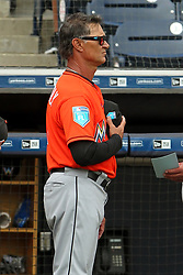 March 18, 2018 - Tampa, FL, U.S. - TAMPA, FL - MAR 18: Miami Marlins Manager Don Mattingly listens to the playing of the National Anthem before the game between the Miami Marlins and the New York Yankees on March 18, 2018, at George M. Steinbrenner Field in Tampa, FL. (Photo by Cliff Welch/Icon Sportswire) (Credit Image: © Cliff Welch/Icon SMI via ZUMA Press)