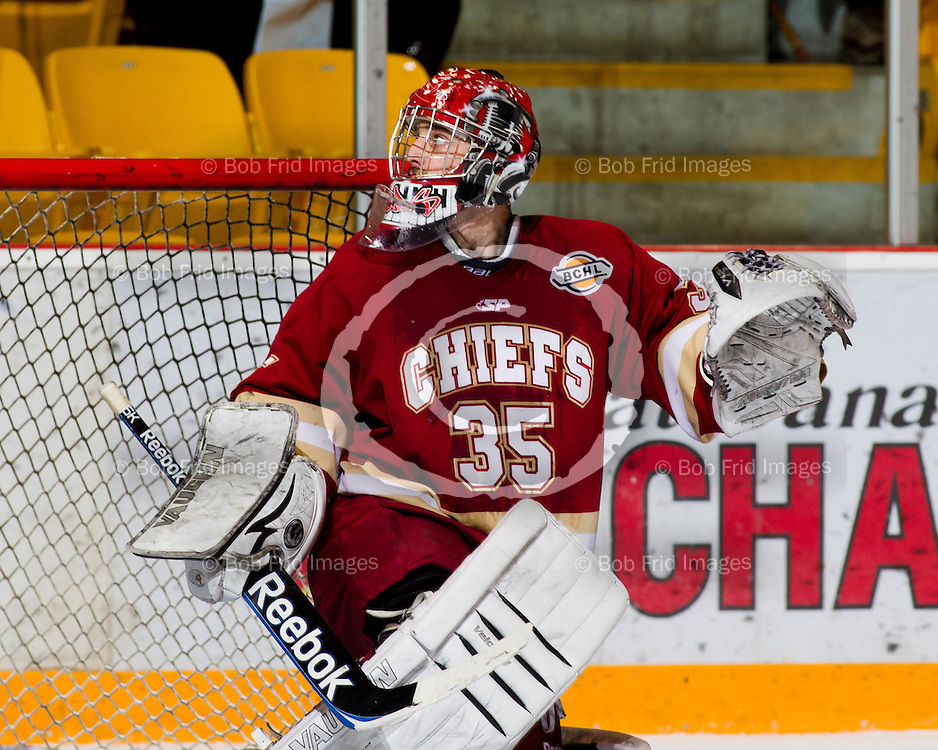 13 January  2012:  goalie Bryton Udy (35) of the Chiefs  during a game between the Chilliwack Chiefs and the Prince George Spruce Kings.  Prospera Centre, Chilliwack, BC.    ****(Photo by Bob Frid/Freemotionphotography.ca) All Rights Reserved : cell 778-834-2455 : email: bob.frid@shaw.ca ****
