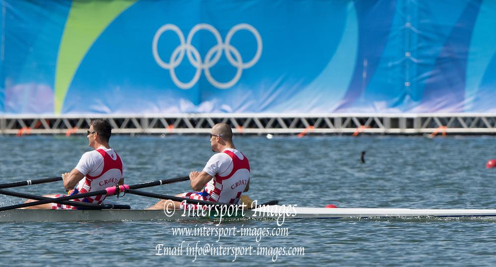 Rio de Janeiro. BRAZIL.  Gold  Medalist CRO M2X. . Bow. Martin SINKOVIC and Valent<br /> SINKOVIC,  2016 Olympic Rowing Regatta. Lagoa Stadium,<br /> Copacabana,  &ldquo;Olympic Summer Games&rdquo;<br /> Rodrigo de Freitas Lagoon, Lagoa. Local Time 11:35:36  Thursday  11/08/2016 <br /> [Mandatory Credit; Peter SPURRIER/Intersport Images]