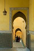 MOROCCO; Meknes. .Pilgrims visit the distinctive Shrine of Moulay Ismail