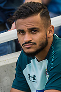 Sofiane Boufal  (Southampton) on the bench after warming up before the Premier League match between Brighton and Hove Albion and Southampton at the American Express Community Stadium, Brighton and Hove, England on 24 August 2019.