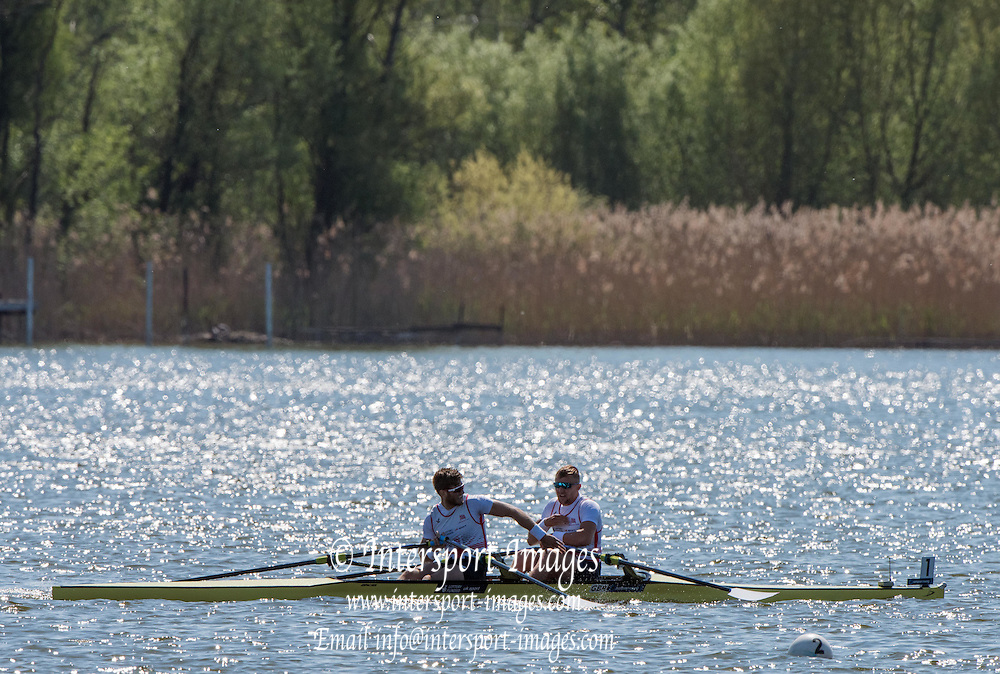 Brandenburg. GERMANY. GBR M2X, Bow John COLLINS and Jonny WALTON. <br /> 2016 European Rowing Championships at the Regattastrecke Beetzsee<br /> <br /> Saturday  07/05/2016<br /> <br /> [Mandatory Credit; Peter SPURRIER/Intersport-images]<br /> 2016 European Rowing Championships at the Regattastrecke Beetzsee<br /> <br /> Saturday  07/05/2016<br /> <br /> [Mandatory Credit; Peter SPURRIER/Intersport-images]