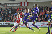 Fleetwood Town striker Ashley Hunter (22) changes direction to mislead the defence during the EFL Sky Bet League 1 match between Fleetwood Town and Charlton Athletic at the Highbury Stadium, Fleetwood, England on 10 September 2016. Photo by John Marfleet.