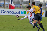 Team USA midfielder Victor Valdez (17) receives a pass during a CONCACAF boys under-15 championship soccer game, Monday, Aug. 5, 2019, in Bradenton, Fla. The USA defeated Guatemala  2-0 (Kim Hukari/Image of Sport)