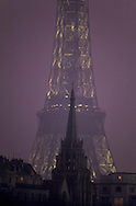 France. Paris. eiffel tower on Seine River and the american church, la tour eiffel et le clocher de l eglise americaine