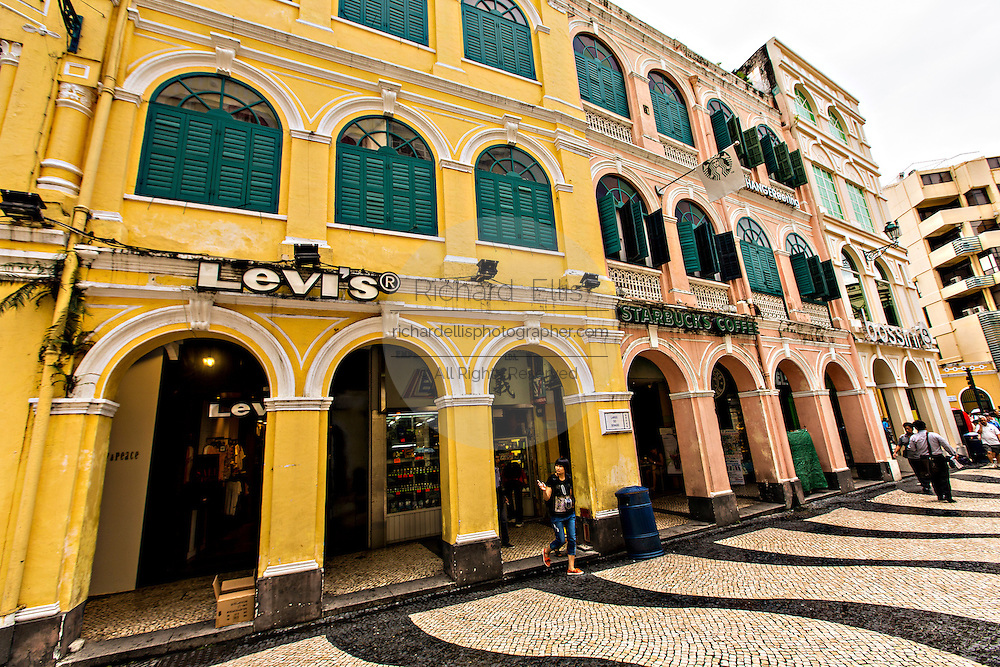 Portuguese colonial buildings Senado Square Macau.
