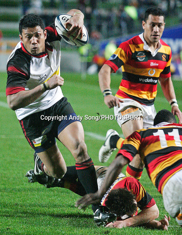 Canterbury centre Casey Laulala on his way to score a try during the Air New Zealand Cup week 3 rugby union match between Waikato and Canterbury at Waikato Stadium in Hamilton, New Zealand on Friday 11 August 2006. Photo: Andy Song/PHOTOSPORT