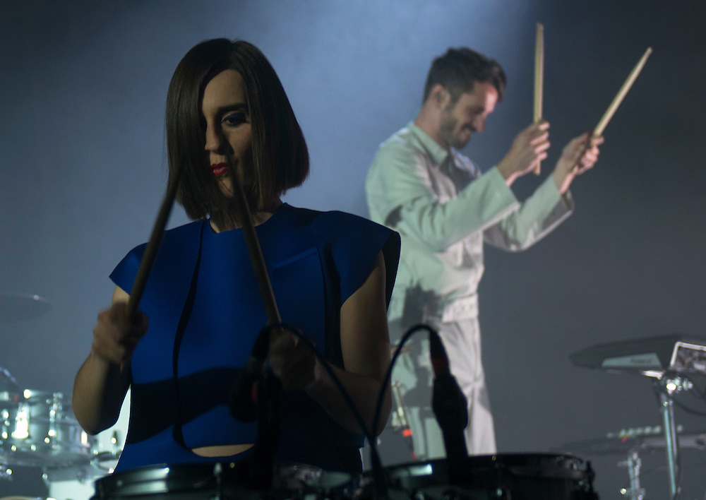 Julie Budet and Tanguy Destable (aka Tepr) of French dance-pop group Yelle performing at Observatory Orange County in between Coachella performances with Seattle-based Hibou opening.