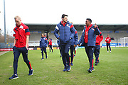 Bristol City players arrive at the Pirelli Stadium during the EFL Sky Bet Championship match between Burton Albion and Bristol City at the Pirelli Stadium, Burton upon Trent, England on 10 March 2018. Picture by John Potts.