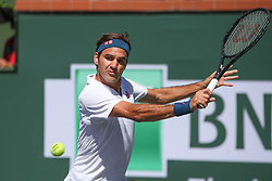 March 15, 2019 - Indian Wells, CA, U.S. - INDIAN WELLS, CA - MARCH 15: Roger Federer (SUI) hits a backhand during the BNP Paribas Open on March 15, 2019 at Indian Wells Tennis Garden in Indian Wells, CA. (Photo by George Walker/Icon Sportswire) (Credit Image: © George Walker/Icon SMI via ZUMA Press)